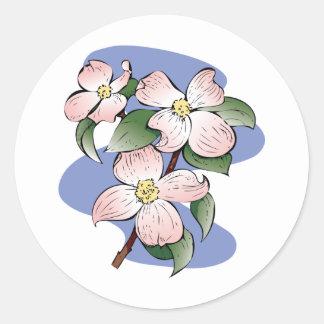 Red Flowering Dogwood Illustration Round Sticker
