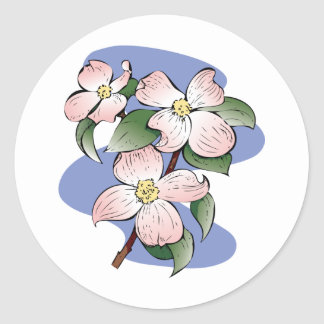Red Flowering Dogwood Illustration Round Stickers