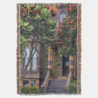 Red Flowering Gum Tree Frames Victorian Style Throw Blanket