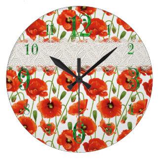 Red Flowering Poppy Large Clock