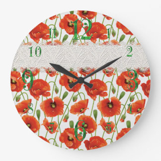 Red Flowering Poppy Wall Clock