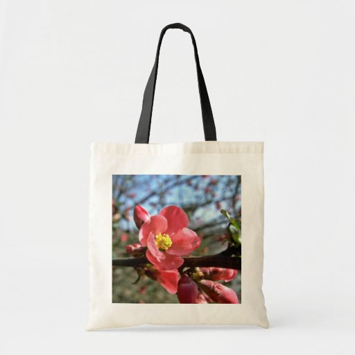 Red Flowering Quince flowers Tote Bags