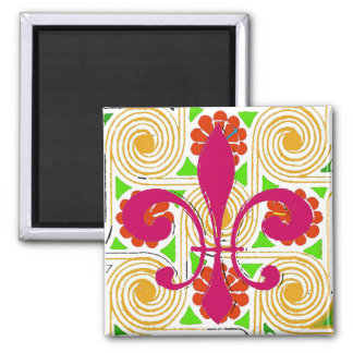 Red Flowers Abstract, Red Fleur De Lis Square Magnet