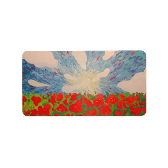 Red Flowers Address Label