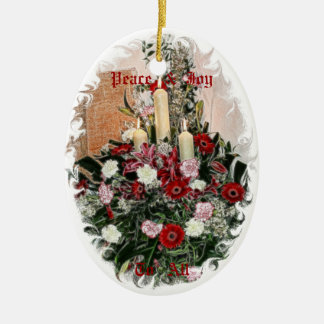Red Flowers and Candles Christmas Ornament
