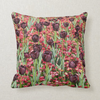 Red Flowers and dark tulips Cushion