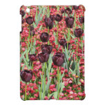 Red Flowers and dark tulips Cover For The iPad Mini