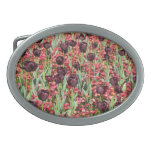 Red Flowers and dark tulips Oval Belt Buckle