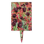 Red Flowers and dark tulips Rectangle Cake Toppers