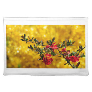 Red Flowers and Gold Place Mat
