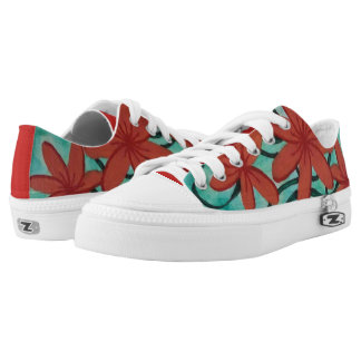 Red Flowers and Green Swirls Low Tops