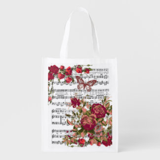Red flowers and music reusable grocery bag