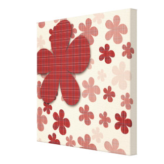 Red Flowers and Textile Pattern Canvas Print