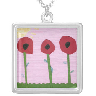 Red Flowers and Yellow Sun on Pink Paper Collage Silver Plated Necklace