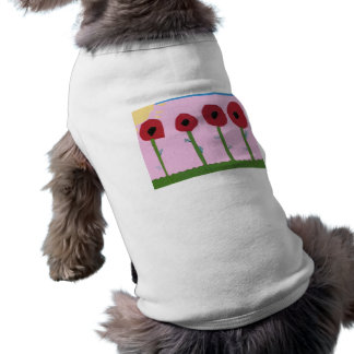 Red Flowers and Yellow Sun on Pink Paper Collage Sleeveless Dog Shirt