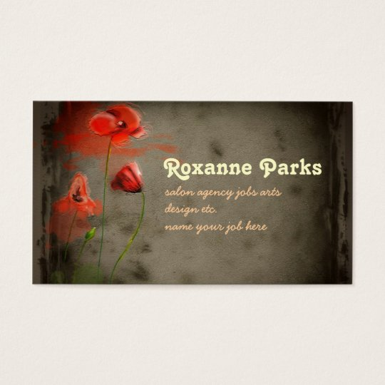 red flowers art business card