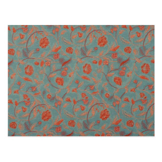 Red Flowers Blue Background Simple Pattern Design Postcard