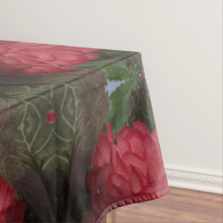 Red Flowers Bouquet Cotton Tablecloth