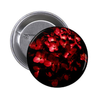 Red Flowers Bouquet in Black Background Photo 6 Cm Round Badge