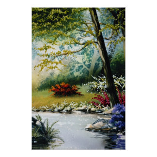 Red Flowers by a stream flowers Poster