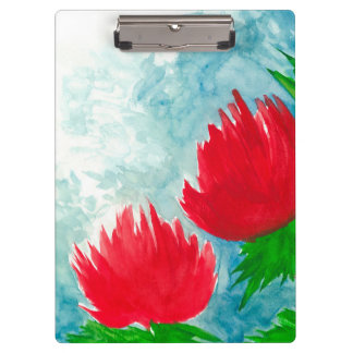 Red Flowers Clipboard