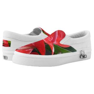 Red Flowers Custom Zipz Slip On Shoes,Men & Women Printed Shoes