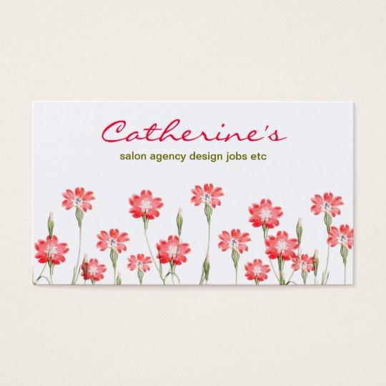 red flowers garden design business card