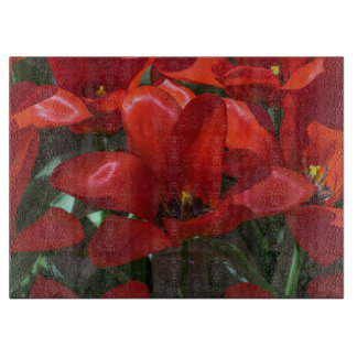 Red flowers glass cutting board