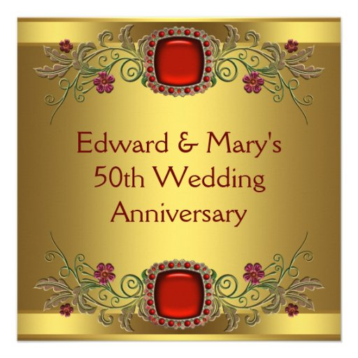 Red Flowers Gold 50th Wedding Anniversary Party Invite