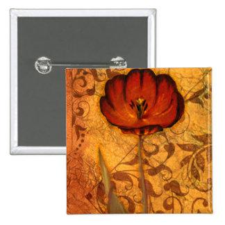 Red Flowers I 15 Cm Square Badge