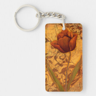 Red Flowers II Double-Sided Rectangular Acrylic Key Ring