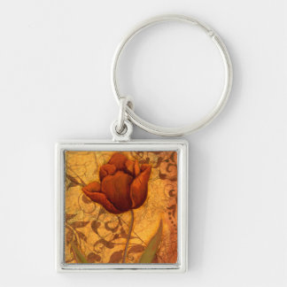 Red Flowers II Silver-Colored Square Key Ring