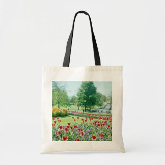 Red Flowers in Valley Gardens, Harrogate, England Tote Bag