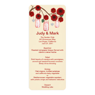 Red Flowers Mason Jars Menu Card 10 Cm X 24 Cm Invitation Card