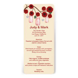 Red Flowers Mason Jars Menu Card