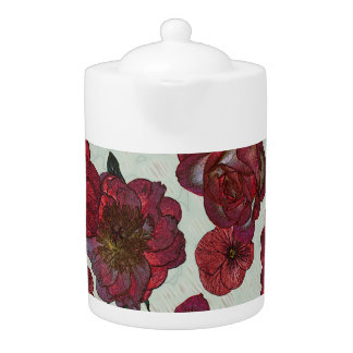 Red flowers Medium Teapot