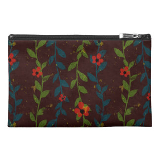 Red Flowers on Blue and Green Vines Travel Accessories Bags