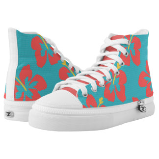 Red flowers on light blue background high tops
