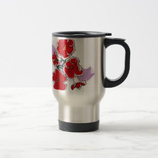 Red Flowers on Purple Swipe Coffee Mugs