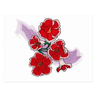 Red Flowers on Purple Swipe Postcard