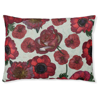Red flowers Outdoor Dog Bed - Large