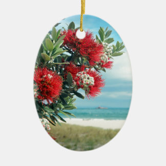 Red flowers paradise beach New Zealand summer Christmas Ornament