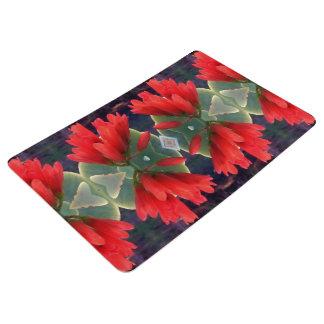 Red Flowers Pattern Floor Mat