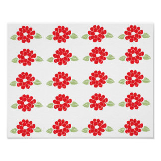 Red Flowers Pattern Print