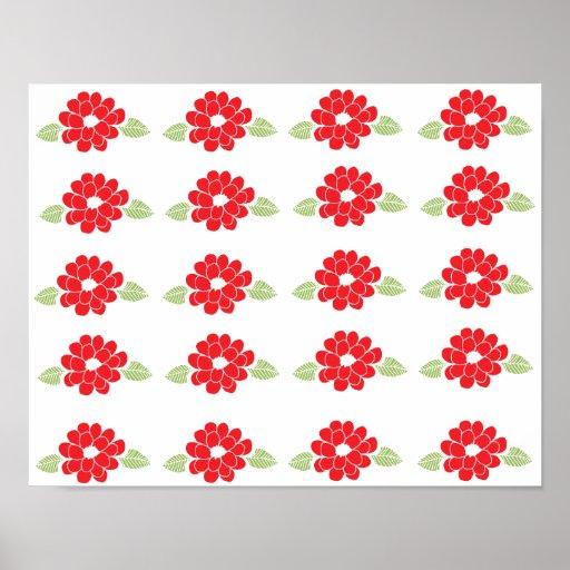 Red Flowers Pattern Print