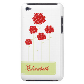 Red Flowers Personalized iPod Case-Mate Case