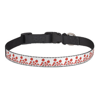 Red Flowers Pet Collar