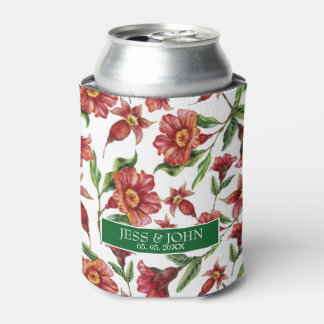 Red Flowers- Save The Date Can Cooler