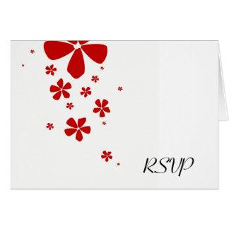 Red Flowers Simply Elegant RSVP Note Card