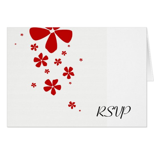 Red Flowers Simply Elegant RSVP Note Card